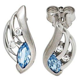 Ohrstecker Silber 925 mit Zirkonia blau und weiß