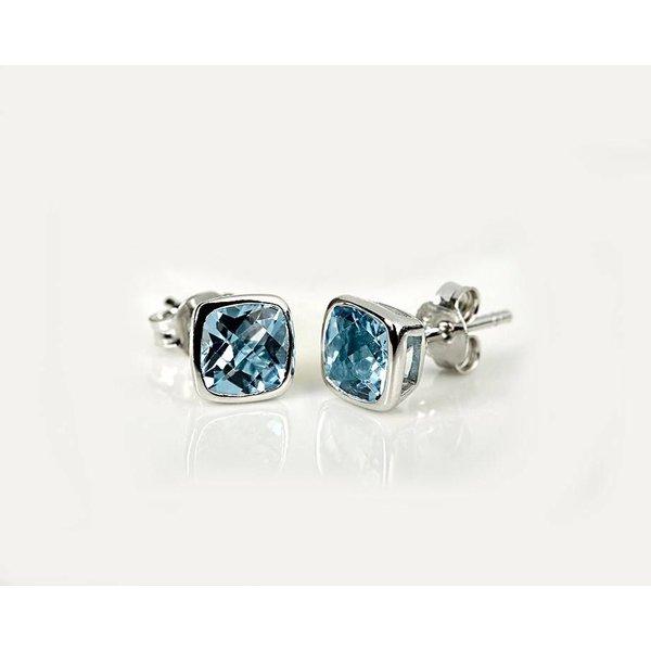 Ohrstecker mit blauem Edeltopas, Sterling Silber 925