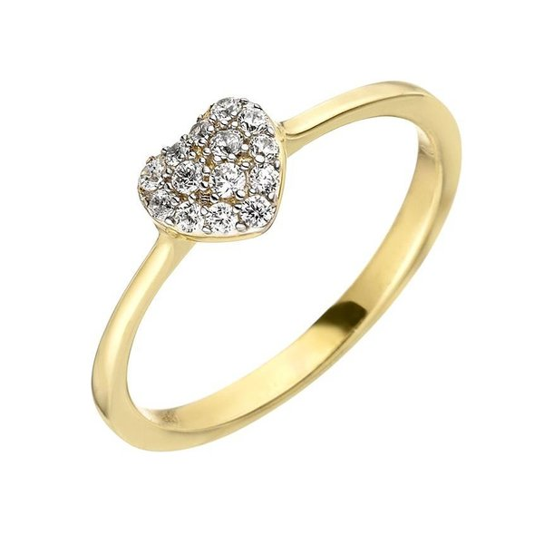 Herz Ring mit Zirkonia Gelbgold 375