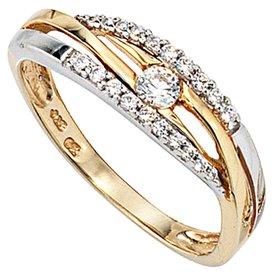 Zirkonia Ring Gelbgold/Weißgold 333