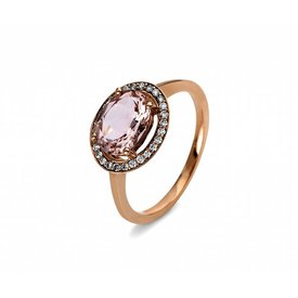 Morganit Diamant Ring Rotgold 750