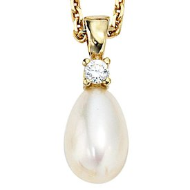 Perlen Anhänger mit Zirkonia Gelbgold 333