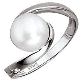 Perlen-Ring Weißgold 333, 1 Süßwasser-Perle