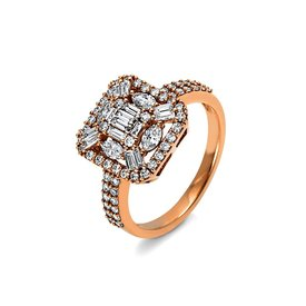 Diamant Ring 1,11 ct Rotgold 750