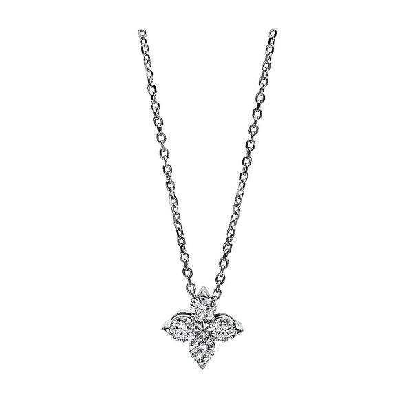 Diamant Collier mit 4 Diamanten Weißgold 18 Karat