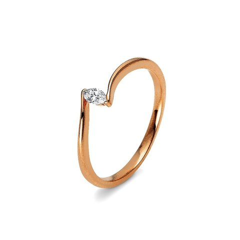Diamant Ring Navette 0,10 ct Rotgold 750