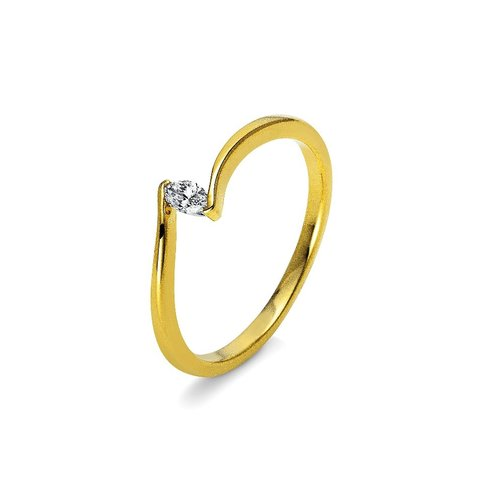 Diamant Ring Navette 0,10 ct Gelbgold 750