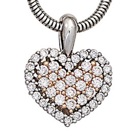 Diamant-Anhänger Herz Weißgold/Rotgold 585