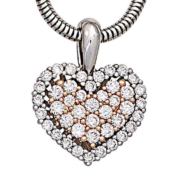 Diamant-Anhänger Herz, Weißgold/Rotgold 585, Diamanten 0,42 ct