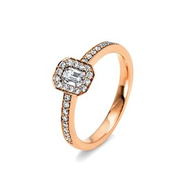 Halo Diamantring 0,54 ct Rotgold 750