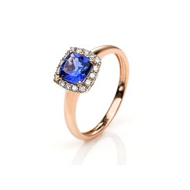 Tansanit Ring Diamant Halo Rotgold 585