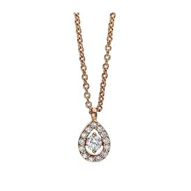 Diamant Collier Illusion Tropfen Rotgold 750