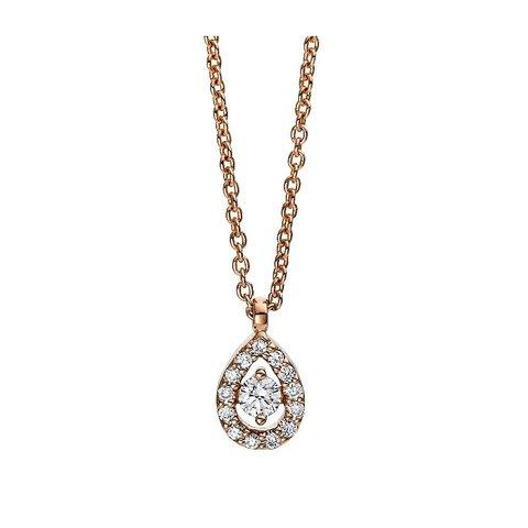 Diamant Collier Illusion Tropfen Rotgold 750