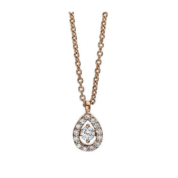 Diamant Collier Illusion Tropfen 0,10 ct aus Rotgold 750 (18 Karat)
