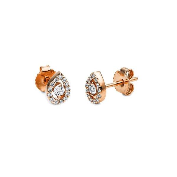 Ohrstecker Tropfen mit 0,20 ct Diamanten aus 750er Rotgold