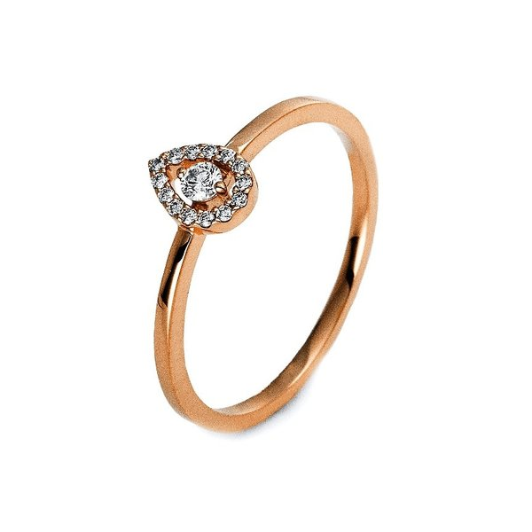 Diamantring Illusion Tropfen 0,10 ct, Rotgold 750 (18 Karat)