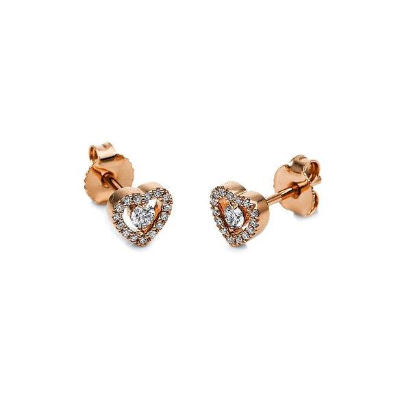 Herz Ohrstecker mit 0,18 ct Diamanten aus 750er Rotgold