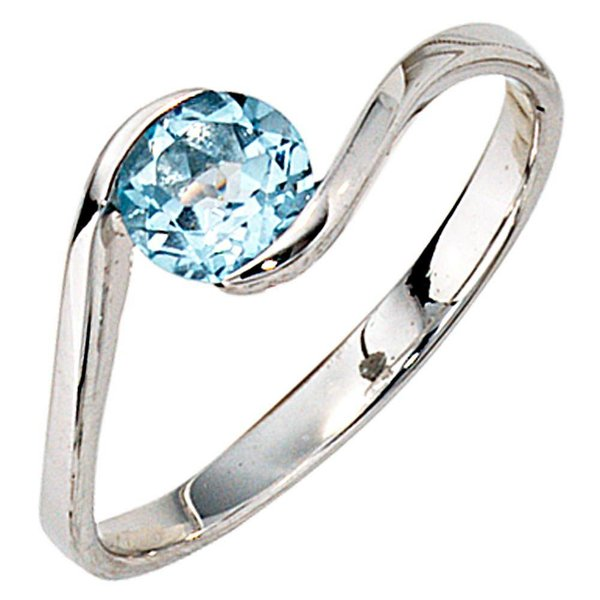 Blautopas Ring aus 333er Weißgold