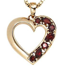 Granat Herz-Anhänger Gelbgold 585