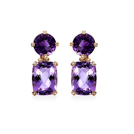 Amethyst Diamant Ohrringe Rotgold 750