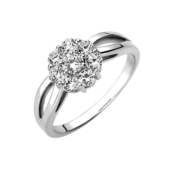 Ring aus Sterlingsilber 925 mit 8 Zirkonia