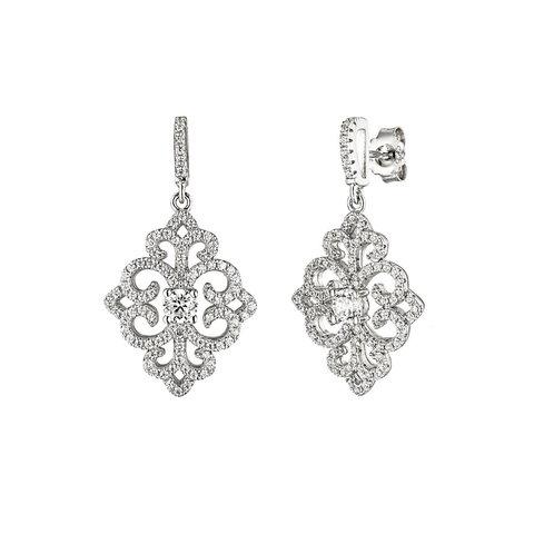 Zirkonia Ohrhänger Ornament Silber 925