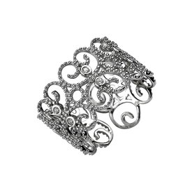 Ornament Ring mit Zirkonia Sterling Silber 925