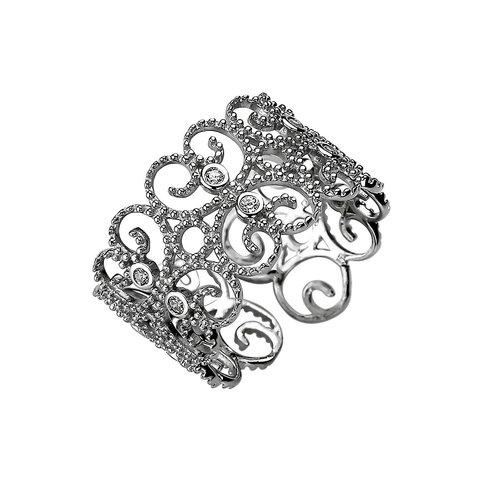 Ornament Ring mit Zirkonia Sterling Silber 925