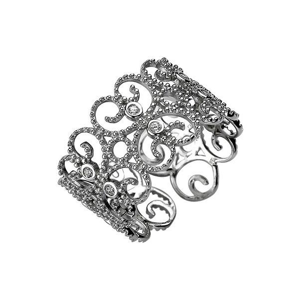 Ornament Ring aus Sterlingsilber 925 mit 10 Zirkonia