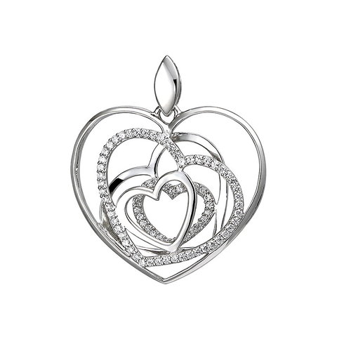 Zirkonia- Anhänger Herzen Sterling Silber 925