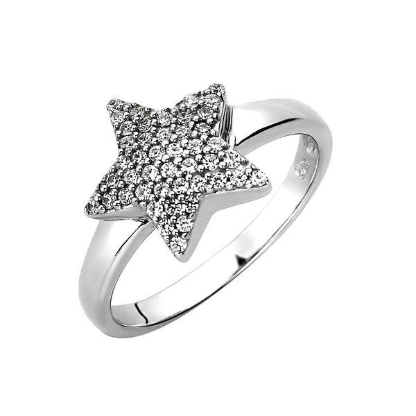 Stern Ring mit Zirkonia aus Sterlingsilber 925
