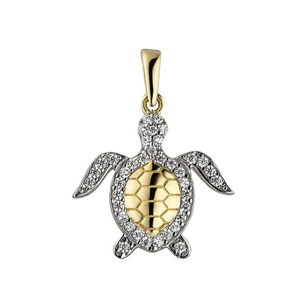 Anhänger Schildkröte mit Zirkonia, Gelbgold 333