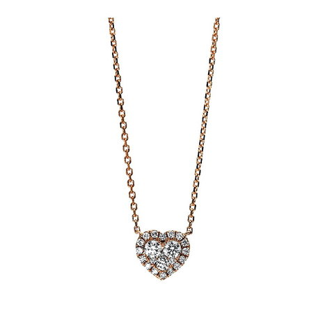 Diamant Herz Collier 0,30 ct Rotgold 750