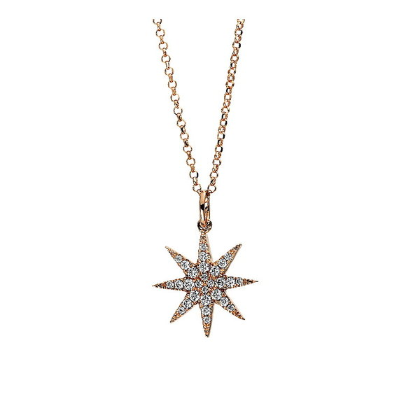 Diamant Stern Collier 0,14 ct, 750er Rotgold