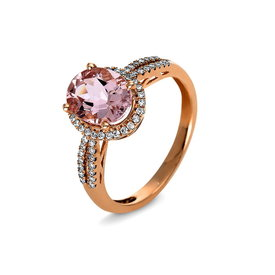 Morganit Ring Diamant Halo Rotgold 585