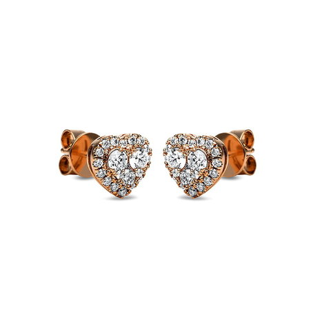 Herz Diamant Ohrstecker 0,59 ct Rotgold 750