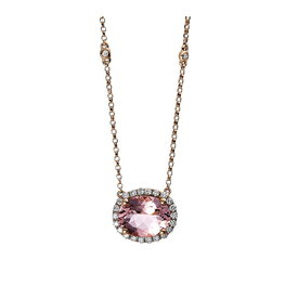Morganit Diamant Collier Rotgold 585
