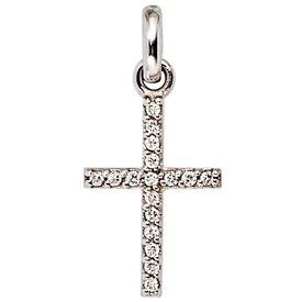 Diamant Kreuz Anhänger, Weißgold 585