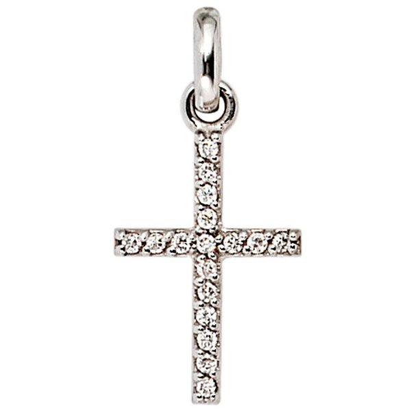Anhänger Kreuz, Weißgold 585 mit 17 Diamanten