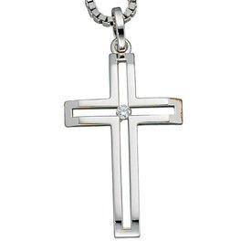 Anhänger Kreuz, Weißgold 585, Diamant