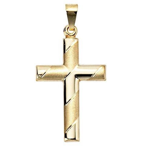 Anhänger Kreuz, Gelbgold 333