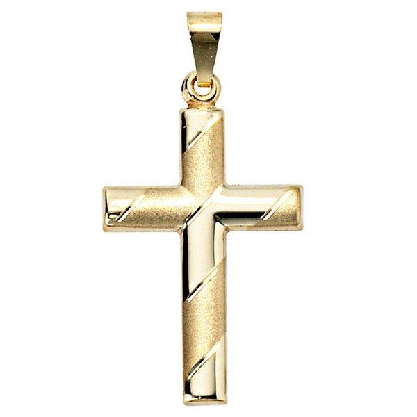 Anhänger Kreuz, Gelbgold 333, teilmattiert