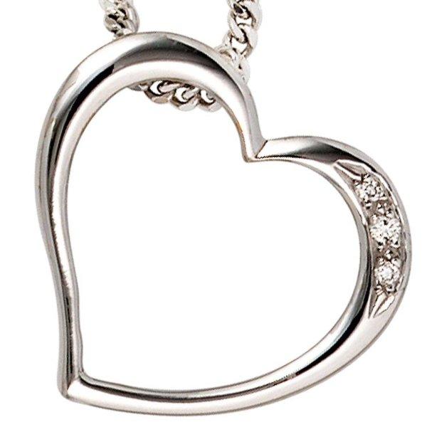 Herz-Anhänger mit Diamanten, Weißgold 585