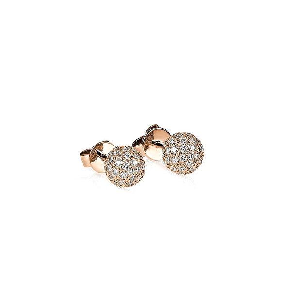 Diamant Pavé Ohrstecker Kugel mit 0,70 ct Diamanten aus 750er Rotgold