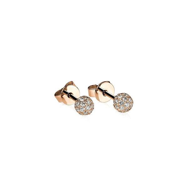Diamant Pavé Ohrstecker Kugel mit 0,36 ct Diamanten aus 750er Rotgold