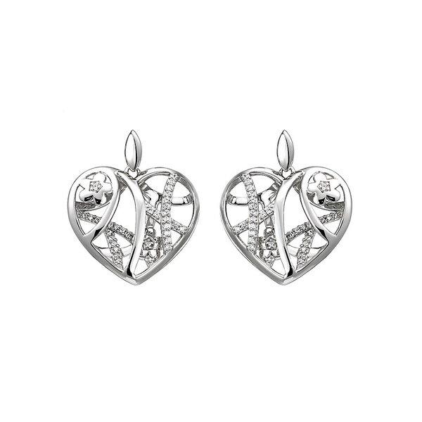 Herz Ohrhänger mit Zirkonia, 925 Sterlingsilber