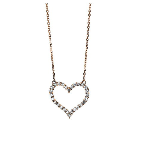 Herz Diamant Collier 0,47 ct Rotgold 750