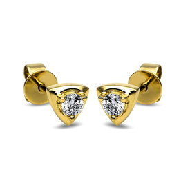 Diamant Solitär Ohrstecker Triangel 0,17 ct Gelbgold 585