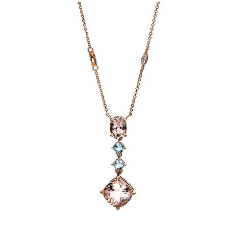 Farbedelstein Collier Morganit Topas Swiss Blue Rotgold 750