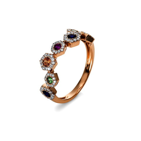 Saphir Diamant Ring multicolor Rotgold 750
